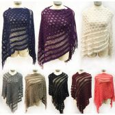 12 Units of knitted multi pattern ponchos *assorted colors & one size fits most - Coats / Ponchos
