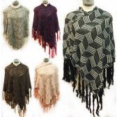 12 Units of geometric pattern knitted ponchos *assorted colors & one size fits most - Coats / Ponchos