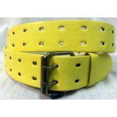48 Units of 2 Hole Grommet Belt In Yellow - Unisex Fashion Belts