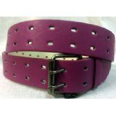 48 Units of 2 Hole Grommet Belt In Purple - Unisex Fashion Belts