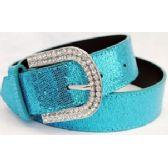 24 Units of Rhinestone Buckle Light Blue Sparkle Belt - Womans Belts