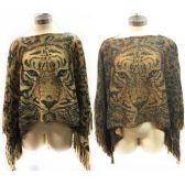 12 Units of Metallic Tiger Print Wrap Poncho - Womens Fashion Tops