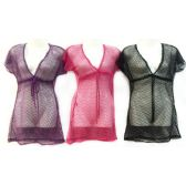 24 Units of See Through Lace Cover Up Shirt Assorted - Womens Swimwear