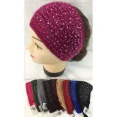 24 Units of Rhinestone Knitted Headbands Assorted Colors assorted colors *button closure (fits most) - Headbands
