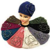 24 Units of Rhinestone Large Flower Knitted Headband Assorted - Headbands