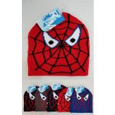 60 Units of Kids Boys Beanie/ Hat spider assorted colors, one size fit most - Winter Beanie Hats