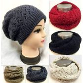36 Units of Dual Purpose Knitted Hat Infinity Scarf Assorted - Winter Sets Scarves , Hats & Gloves