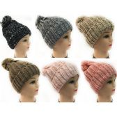 36 Units of Women Knit Winter Hat Solid Color with White Speckles