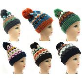 24 Units of Women Knit Winter Hat Geometric Pattern Pompom Hat