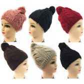 24 Units of Women Knit Winter Hat Solid Color Pompom Assorted Color