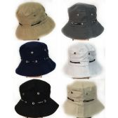 48 Units of Solid Color Bucket Hat with Adjustable Strap assorted colors - Bucket Hats