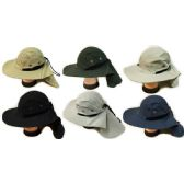 24 Units of Summer Hunting Fishing Hat with Neck Cover Assorted - Fishing Items