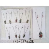 120 Units of Rhinestone Owl Necklace Earring Set Assorted Colors - Necklace Sets
