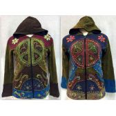6 Units of Large Peace Sign Fleece Lined Jackets Assorted Handmade - Woman's Winter Jackets