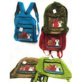 10 Units of Solid Color Three Owl Tie Dye Cotton Handmade Backpacks