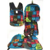10 Units of Multiple Peace Sign Tie Dye Cotton Handmade Backpacks