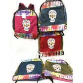 10 Units of Skull Design Tie Dye Cotton Handmade Backpacks