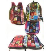 10 Units of Peace Sign Flower Tie Dye Cotton Handmade Backpacks