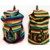 10 Units of Tie Dye Nepal Cotton Backpacks Multi Color Two Pockets