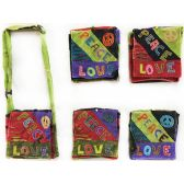 15 Units of Nepal Small Sling Bags Peace Sign with Peace Love - Shoulder Bag/ Side Bag