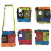 15 Units of Nepal Small Sling Bags Peace Sign with Swirl - Shoulder Bag/ Side Bag