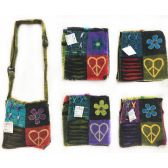 5 Units of Nepal Small Sling Bags Flower with Heart Shaped Peace - Shoulder Bag/ Side Bag