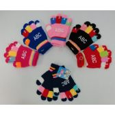24 Units of Kids Knitted Gloves-ABC Prints - Kids Winter Gloves