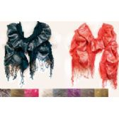 36 Units of Silver Lined Ruffle Scarves w/ Fringes in Assorted Colors - Womens Fashion Scarves