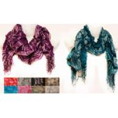24 Units of Silver Lined Ruffle Striped Scarves with fringes - Womens Fashion Scarves