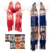 24 Units of Silver Lined Scarves with Tie Dye Effects in Assorted Colors - Womens Fashion Scarves