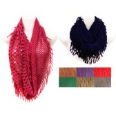 24 Units of Solid Color Infinity Scarves with Two Net Patterns - Womens Fashion Scarves