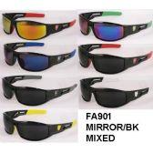 36 Units of Man Sports sunglasses Mirror Lens assorted colors - Sport Sunglasses