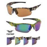 24 Units of Men Camo Sports Sunglasses Assorted Colors - Sport Sunglasses