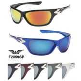 36 Units of Men Motorcycle Sports Sunglasses with Flames - Sport Sunglasses