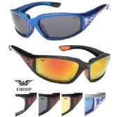 24 Units of Wholesale Men Motorcycle Sports Sunglasses Flame with Foam assorted colors - Sport Sunglasses