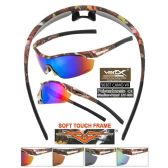 24 Units of Men Camo Sports Sunglasses Wrap Style Soft Coating assorted colors - Sport Sunglasses