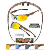 24 Units of Men Camo Sports Sunglasses Soft Coating assorted colors - Sport Sunglasses