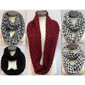 24 Units of Bicolor Knitted Infinity Scarves Style 157 - Winter Scarves