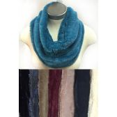 24 Units of Faux Fur Infinity Circle Scarves Solid Color Assorted - Winter Scarves