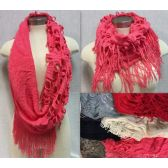 24 Units of Textured Infinity Knitted Scarves Assorted - Winter Scarves