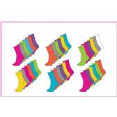 60 Units of Ladies 6 Pair Pack Solid Brights Crew Socks