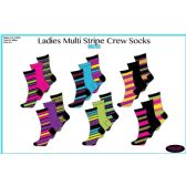 60 Units of Ladies 3 Pair Multi Stripe Crew Socks