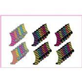 60 Units of Ladies 6 Pair Pack Stripe Crew Socks Size 9-11