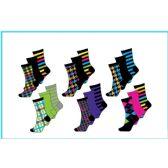 60 Units of Ladies 3 Pair Pack Multi Color Pattern Crew Socks Size 9-11