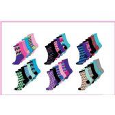 60 Units of Ladies 6 Pair Pack Chevron Crew Socks Size 9-11