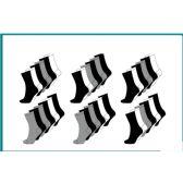 60 Units of Ladies 6 Pair Pack Solid Black/White/Grey Crew Socks Sizes 9-11
