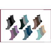 60 Units of Ladies 3 Pair Pack Random Feed Crew Socks Sizes 9-11