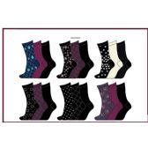 60 Units of Ladies 3 Pair Pack Printed Crew Socks Sizes 9-11