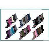 60 Units of Ladies 6 Pair Pack Prints Crew Socks Size 9-11