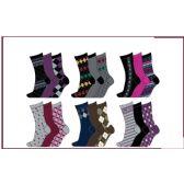 60 Units of Ladies 3 Pair Pack Printed Crew Socks Size 9-11